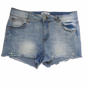 Between Us Midrise Jean Shorts With White Faux Pearls Size 11